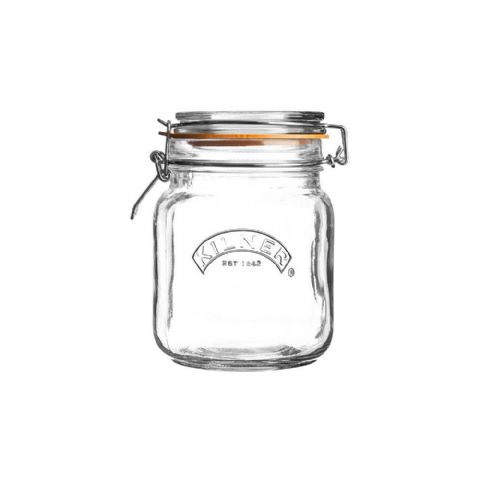 Kilner Large 1L Square Glass Clip Top Jar